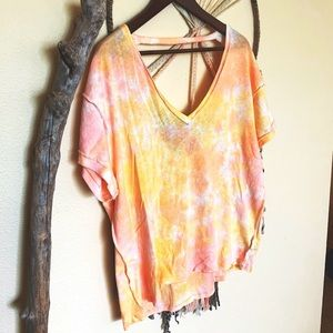 Free People-NWT Tie Dye Loose Top-Size: Small